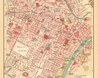 1905 Antique Dated City Map of Turin, Italy