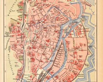 1904 Original Antique Dated Map of Danzig, Gdansk as a Part of the German Empire