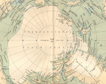 1892 Antique Dated Map of the Arctic Region of the Earth with Greenland and the North Pole