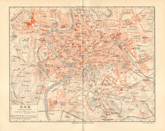 1890 Original Antique City Map of Rome at the End of the 19th Century