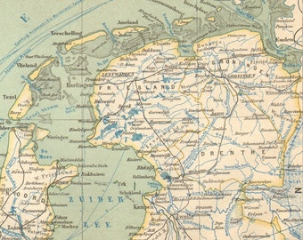 1892 Original Antique Dated Map of the Netherlands