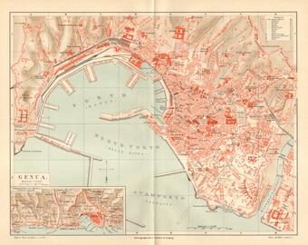 1890 Original Antique City Map of Genoa, Italy in the 19th Century