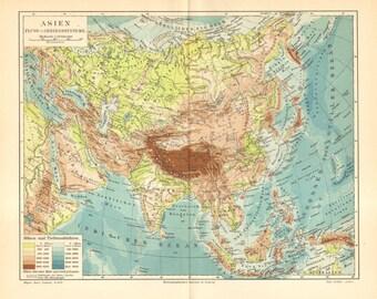 1902 Original Antique Relief Map of Asia
