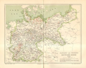 Items similar to Antique Map German Empire, North-East Germany ...