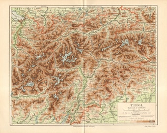 1889 Antique Dated Relief Map of the County of Tyrol