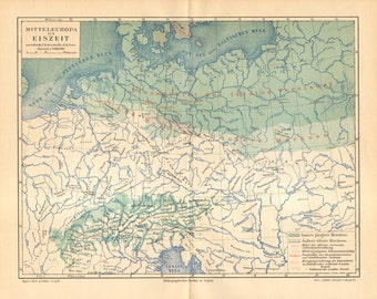 1890 Original Antique Map of Central Europe During the Ice Age