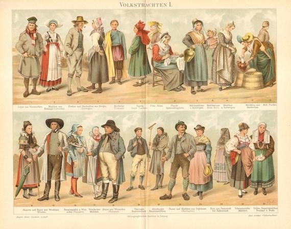 1897 European National Costumes, Folk Dresses or Traditional Garments I. Original Antique Chromolithograph