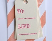 To and Love Gift Tags / Set of 6 / Letterpress Printed