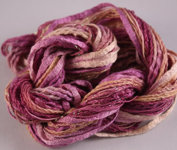 Embroidery Thread hand dyed perle cotton magenta and Gold quilting cotton scrapbooking embellishment