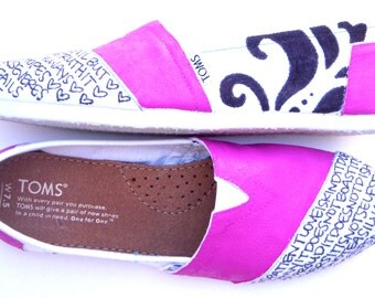 The Pixley - Fuscia Hot Pink and White Custom TOMS