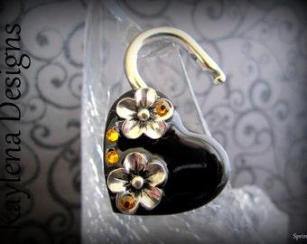 Heart Lock, Flower heart  lock, BDSM Lock, lock and key, locking Jewelry