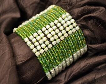 Wide Herringbonr Cuff Bracelet