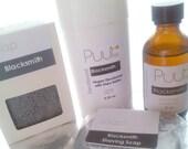 Activated Charcoal Men's Soap Set - Blacksmith - Vegan Natural Deodorant Shaving Soap Aftershave