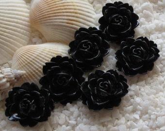 Resin Flower Cabochon - 18mm  x 16mm - 6 pcs -  Black