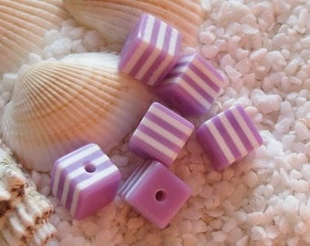 Resin Cube Beads - 8mm - Lavender - 50 pcs