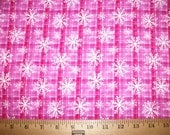 Pink Plaid Snowflakes Snuggle Flannel Fabric 1.5 yds