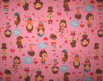 "Happy girls on pink fabric 26"" x 42"" imported from Japan"