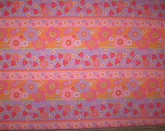 Strawberry Shortcake floral stripe on pink quilt fabric 1 yard 24""