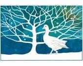 Illustration, Watercolor painting, 10 x 8, Graphic art, White goose, Bird print, Tree Art, Modern Art, Contemporary painting, Blue white