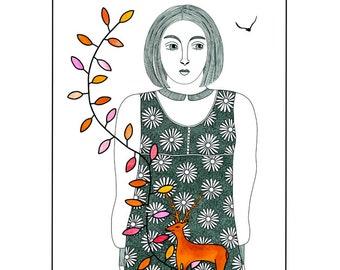 Ink drawing, Woman with deer, Art illustration, 10 x 8, Folk art, Deer illustration, Orange and black art, Graphic art, Animal print