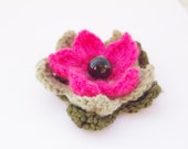 hot pink green brooch, flower brooch, multi layered,  free shipping, gift for her, crochet, gift under 25