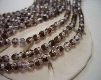 Sale, Czech glass beads, crystal beads, fire polished, 3mm, faceted, glass, 3mm bicone beads, oval, chestnut, dual colour, crystal, brown