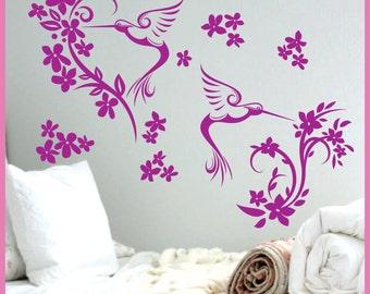 Humming Bird Flowers Vinyl Wall Decals Art Stickers Decor