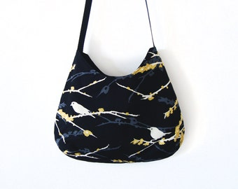 Cross body bag black Sparrows with yellow and white