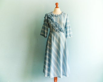 Vintage light blue dress / pastel blue white / ruffles / special occasion dress / romantic / long  / medium
