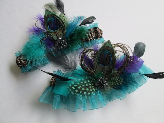 PEACOCK Wedding Garter Set, Jade Teal & Purple Garters, Leopard Garter, Millinery Feather, Something Blue, Steampunk Bride