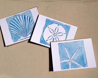 "Seashell Notecards - Beach Art - Set of Nine (3 1/2"" X 5"") - Thank You Cards - Blue"