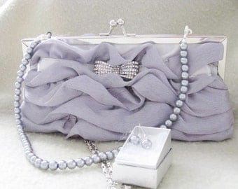 Silver Grey Frills Bag  Removable  Swarovski Pearl strap converts to Necklace Wedding Bridal Bag Clutch Formal Wear