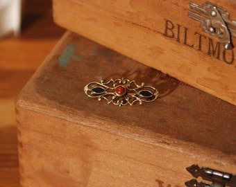 Genuine Stone Brooch - Pin - Red and Black - Gold Trim