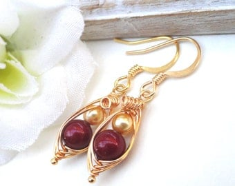 Peas in a pod, birthstone earrings, mother and child, gold pea pod earrings, baby shower gift, petite pea pod earrings, sisters earrings