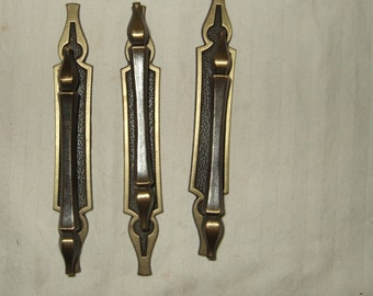 Vintage cabinet pulls and backplates 3 sets architectural salvage drawer pulls offset drawer handles,