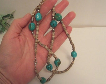 Vintage turquoise necklace turquoise and heishi necklace handcrafted Southwestern Navajo Charlie Little family