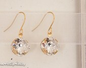 Gold Plated SWAROVSKI  Clear or Golden Shadow CRYSTAL Diamond Single Stone Drop Earrings, Bridal Crystal Earrings