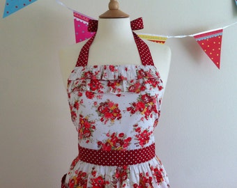 Retro apron with ruffles, Red floral and Polka Dots. 1950s inspired, fully lined.