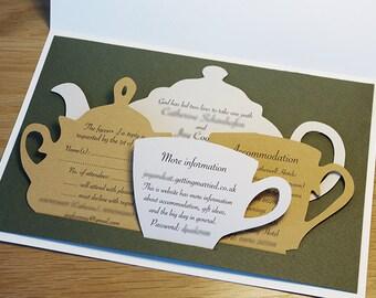 Wedding Invitations Set, Tea Time Themed Wedding, Tea Ceremony, English Style Party, Tea Pot, Tea Set, Cutout, Scrapbook, Papercut by Naboko