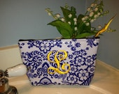 Small Blue Floral Toile Oilcloth Monogrammed Makeup Bag / Personalized Cosmetic Bag with Yellow Polka Dot Oilcloth Lining