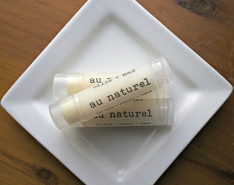 VACATION SALE  Natural Unflavored Lip Balm Vegan .15oz Organic, Unscented, Plain Lip Balm