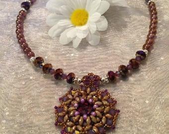 Beaded Purple Rivoli Necklace