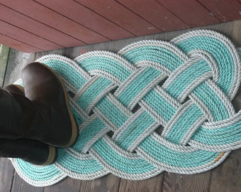 "Eco-Friendly Awesome Silver & Green Rope Rug 36"" x 15"" Recycled Rope Unique Gift"