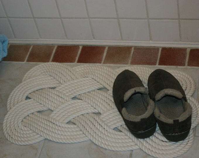 """Soft Bath Mat Cotton Rope Rug Off White Nautical Natural Beachy Feel 25"""" x 16"""""""