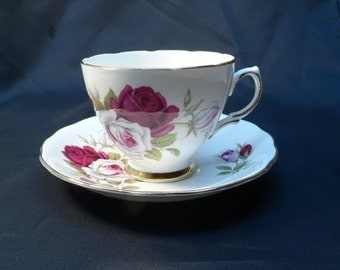 Colclough Bone China Product of Ridgway Potteries England Rose Cup and Saucer
