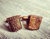 Morez - Nature - Vintage French Medal Cuff LInks - Repurposed - One of a Kind - Gift Bag