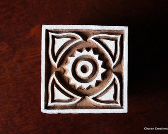 Hand Carved Indian Wood Textile Stamp Block- Square Motif