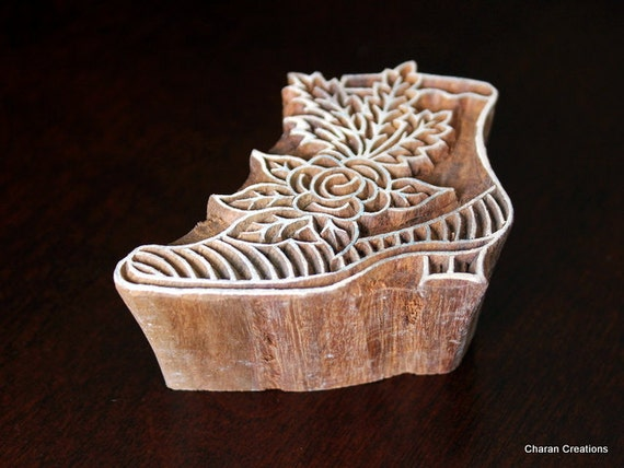 Hand carved indian wood textile stamp block victorian