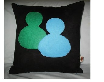 Unique Designer 16x16 Faux Suede Black and Light Blue Pillow Cover with  MSN Icon  Applique