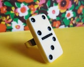 Lucky Number 7 Vintage  Domino Statement Ring